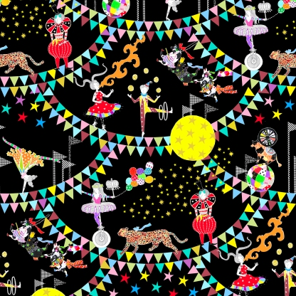 Circus of Wonders-GoldPrint指示付き-BGblack-WhiteFlag